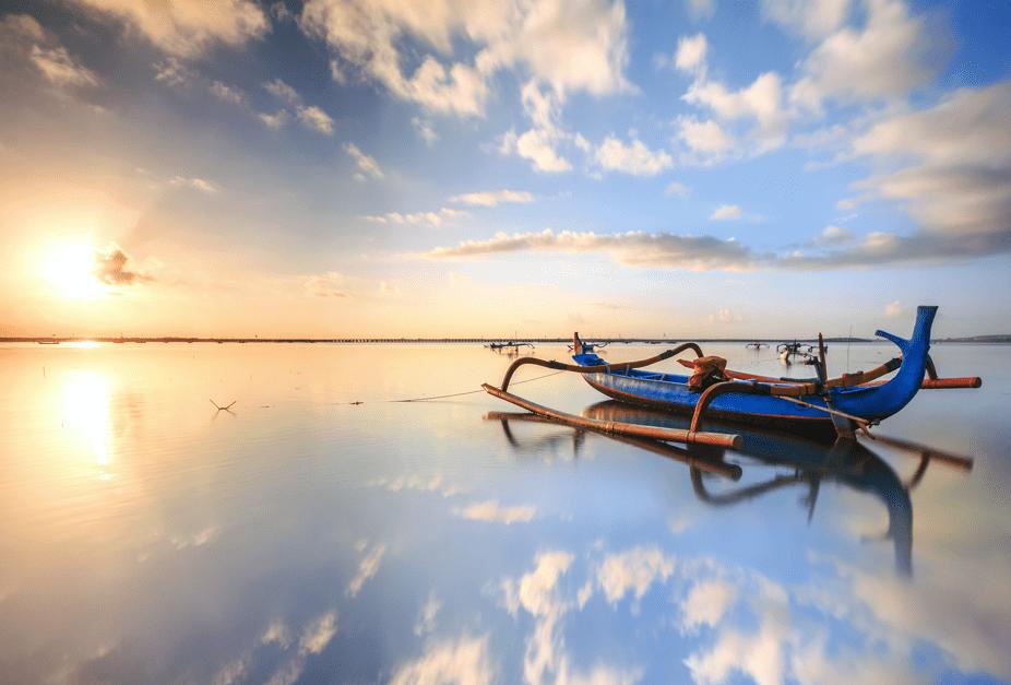 Traditional Bali boat at sunrise