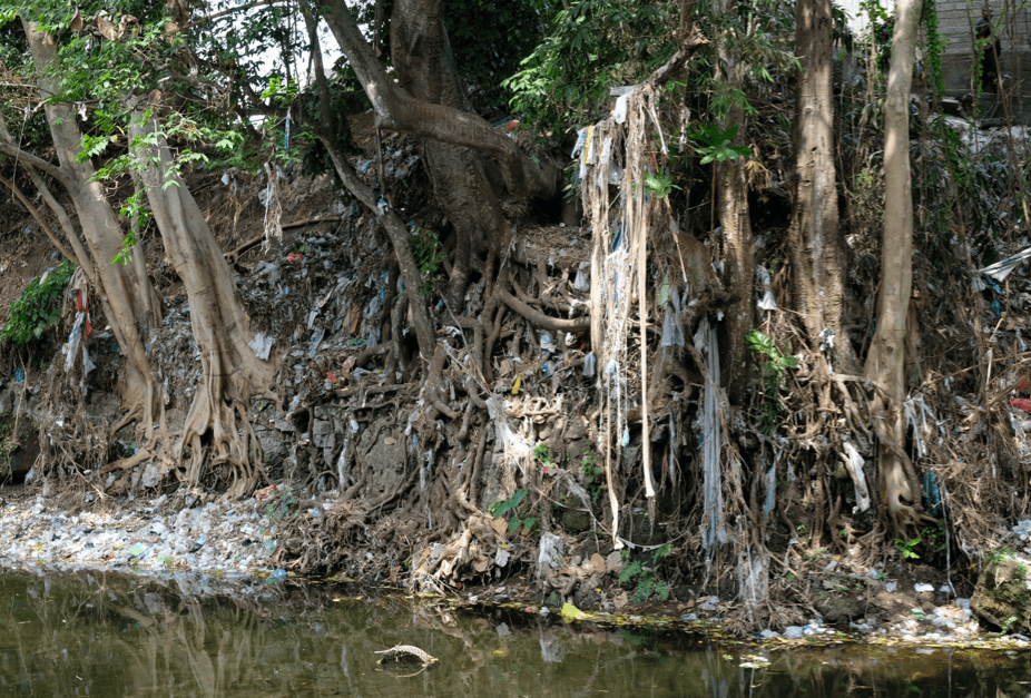 Bali riverbed polluted with waste and rubbish